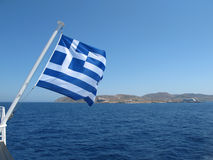A Greek flag. In the Aegean stock photo