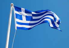 Greek Flag. On Blue Background royalty free stock photography