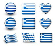The Greek flag. Set of icons and flags. glossy and matte on a white background Stock Image