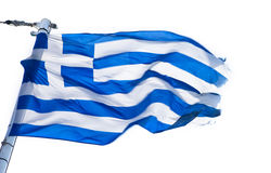 Greek Flag. A Greek flag on a white background royalty free stock photo