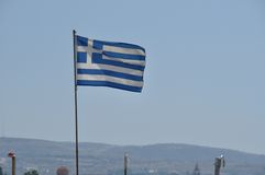 Greek flag. Flying in the wind royalty free stock photography