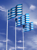 Greek flag. The flag of Greece flies in front of a blue sky stock illustration