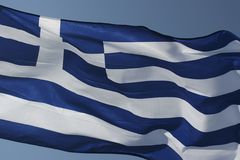 Greek flag. The national greek flag closeup royalty free stock photo