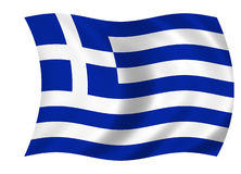 Greek flag. Waving flag of greece - greek flag Royalty Free Stock Image