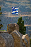 Greek flag. On the mountain background stock image