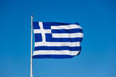 Greek flag on Acropolis of Athens, Greece. Royalty Free Stock Photo