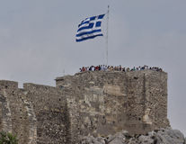 Greek Flag on the Acropolis Stock Images