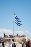 Greek flag at Acropolis, Greece Stock Image