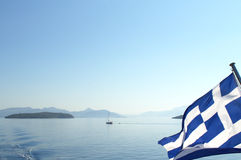 Greek flag blowing Stock Photography