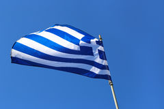 Greek Flag in the Blu Sky Stock Images