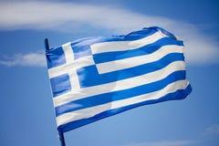 Greek flag. In the blue sky stock photos