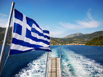 Greek Flag on Boat Royalty Free Stock Image