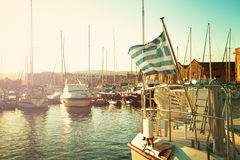 Greek Flag and Boats. Impression of Greece Royalty Free Stock Photography