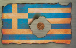 Greek flag brushed metal abstract stock image