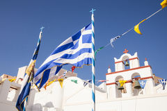 Greek flag with church bells in the background Royalty Free Stock Image