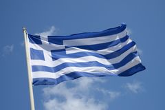 Greek flag in close up royalty free stock images