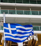 Greek Flag and Cruise Ship Royalty Free Stock Photo