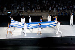Greek flag entering stadium Royalty Free Stock Photo