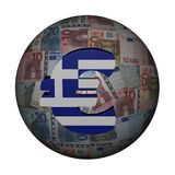 Greek flag euro symbol on sphere Stock Photography