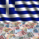 Greek flag with euros Royalty Free Stock Image