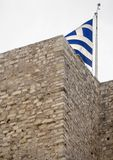 Greek flag flying on the Acropolis in the city of Athens, Greece stock photo