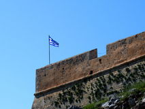 Greek Flag At Fortezza Or Fort Of Rethymno Crete Greece Royalty Free Stock Photography