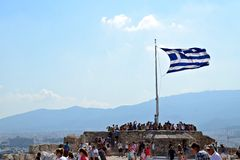 Greek Flag. Flag of Greece at Acropolis in Athens royalty free stock photography