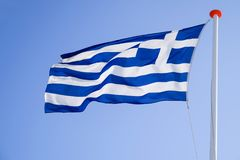 Greek flag. Flying in the wind royalty free stock photos