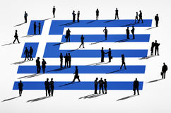 Greek Flag and a Group of Business People Stock Photography