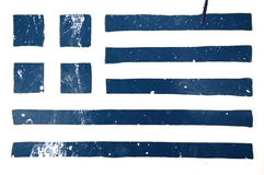 Greek flag grunge stencil Royalty Free Stock Image