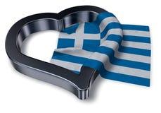 Greek flag and heart symbol Stock Photo