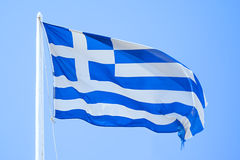 Greek flag. An image of the greek flag under a blue sky stock images