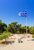 Greek flag mast in Kamiros Royalty Free Stock Photo