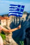 Greek flag on the mountains background Stock Photos