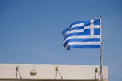 Greek flag near Poseidon temple,Greece Royalty Free Stock Photos