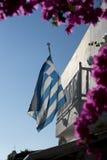 Greek flag Oia Santorini Stock Image