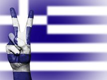 Greek flag and peace sign royalty free stock image