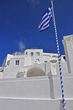 Greek flag on pole, santorin Royalty Free Stock Photos