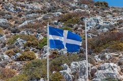 Greek Flag. At Saint John The Hermit at Akrotiri Crete, Greece stock images