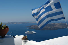 Greek flag and the sea royalty free stock image
