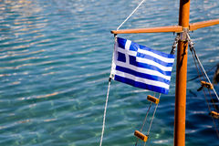 Greek Flag On A Ship Royalty Free Stock Photos