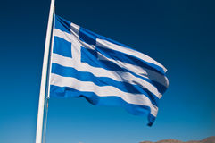 Greek flag in the sky Stock Images