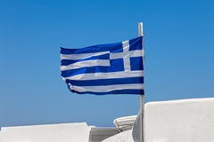 Greek flag on  the sky Stock Photography