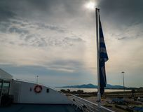 The greek flag symbol of the nation for all the wars that passed towards freedom stock image