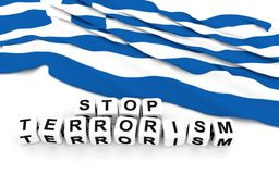 Greek flag and text stop terrorism. Royalty Free Stock Photography
