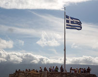 Greek Flag at the top of The Parthenon, Acropolis, Greece Stock Photography