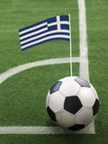 Greek Flag on Top of Soccer Ball Stock Image