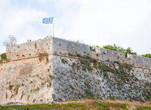 Greek Flag at the Venetian Fortezza or Citadel in Rethymno, Cret Royalty Free Stock Image