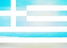 Greek flag Water Beach Background Stock Image
