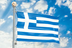 Greek flag waving in blue cloudy sky, 3D Stock Images